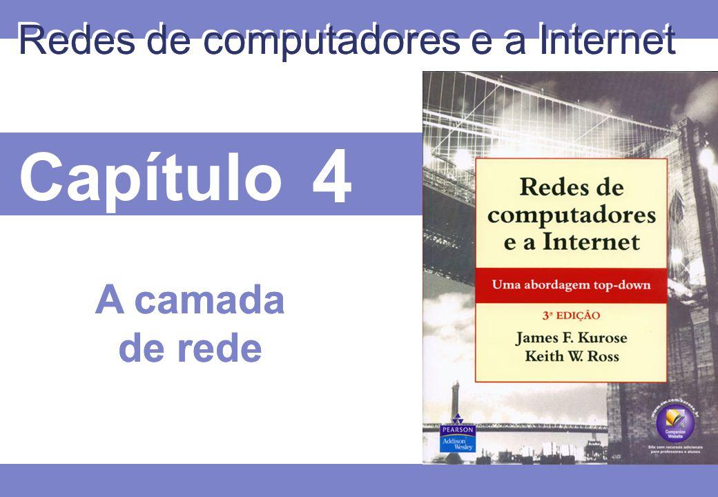 4 © 2005 by Pearson Education 4 4 - 112 A camada de rede  4.1 Introdução  4.2 Circuito virtual e redes de datagrama  4.3 O que há dentro de um roteador  4.4 IP: Protocolo da Internet  Formato do datagrama  Endereçamento IPv4  ICMP  IPv6  4.5 Algoritmos de roteamento  Link state  Distance vector  Roteamento hierárquico  4.6 Roteamento na Internet  RIP  OSPF  BGP  4.7 Roteamento de broadcast e multicast