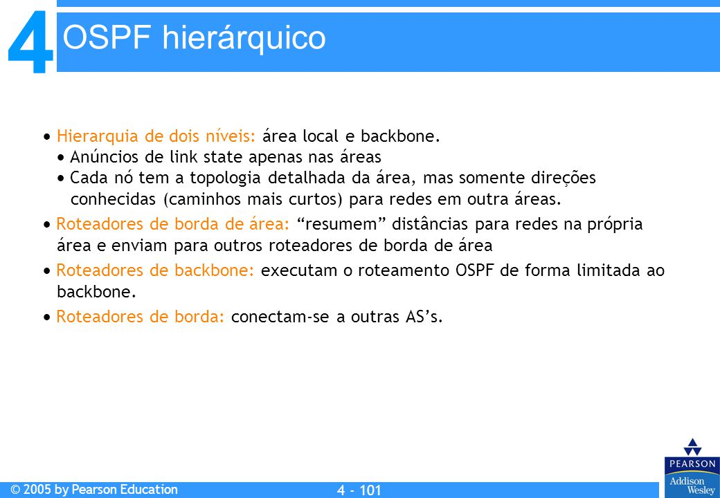 4 © 2005 by Pearson Education 4 4 - 101  Hierarquia de dois níveis: área local e backbone.