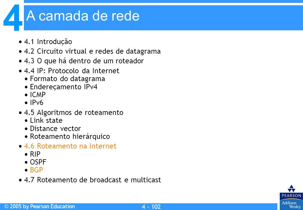 4 © 2005 by Pearson Education 4 4 - 102 A camada de rede  4.1 Introdução  4.2 Circuito virtual e redes de datagrama  4.3 O que há dentro de um rote
