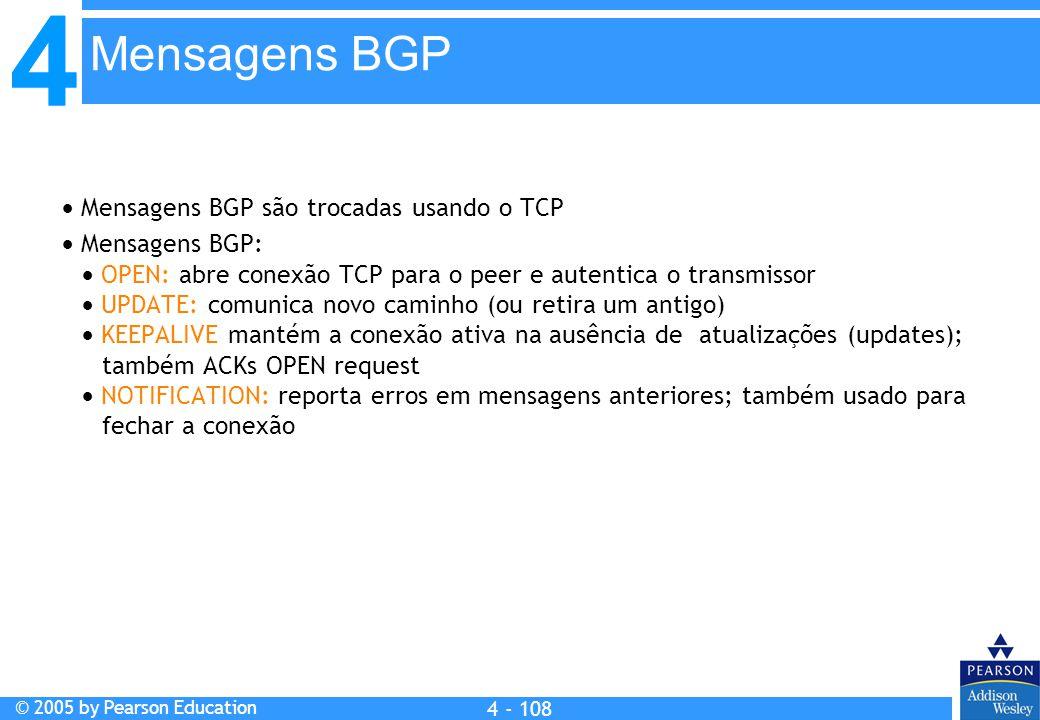 4 © 2005 by Pearson Education 4 4 - 108  Mensagens BGP são trocadas usando o TCP  Mensagens BGP:  OPEN: abre conexão TCP para o peer e autentica o