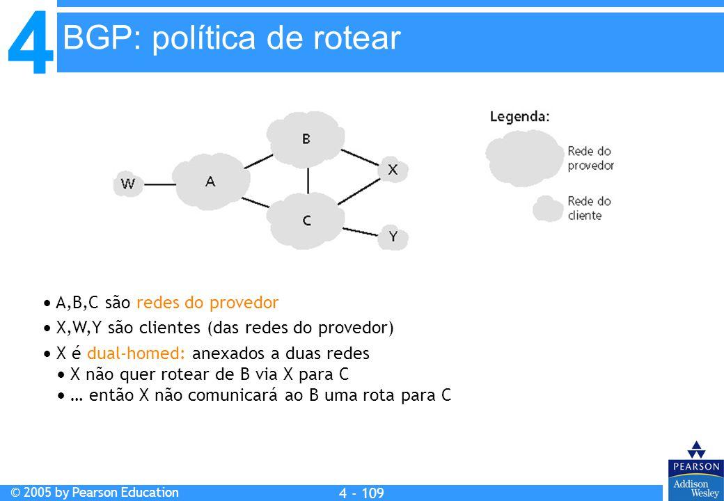 4 © 2005 by Pearson Education 4 4 - 109  A,B,C são redes do provedor  X,W,Y são clientes (das redes do provedor)  X é dual-homed: anexados a duas r