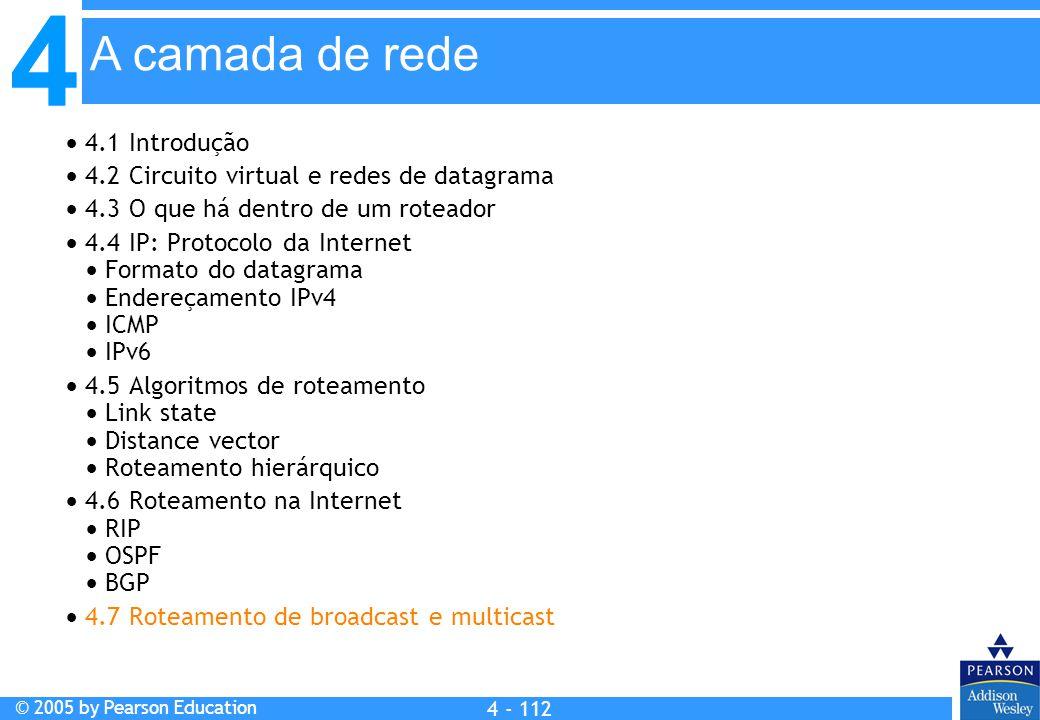 4 © 2005 by Pearson Education 4 4 - 112 A camada de rede  4.1 Introdução  4.2 Circuito virtual e redes de datagrama  4.3 O que há dentro de um rote