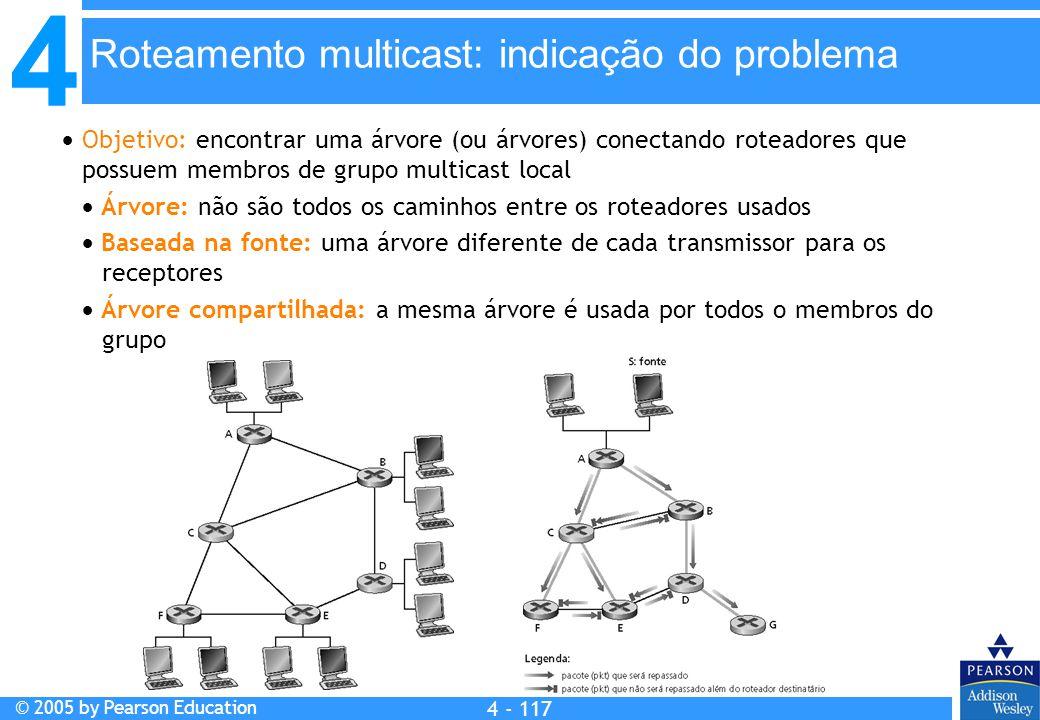 4 © 2005 by Pearson Education 4 4 - 117  Objetivo: encontrar uma árvore (ou árvores) conectando roteadores que possuem membros de grupo multicast loc