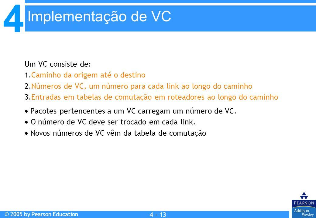 4 © 2005 by Pearson Education 4 4 - 13 Um VC consiste de: 1.Caminho da origem até o destino 2.Números de VC, um número para cada link ao longo do cami