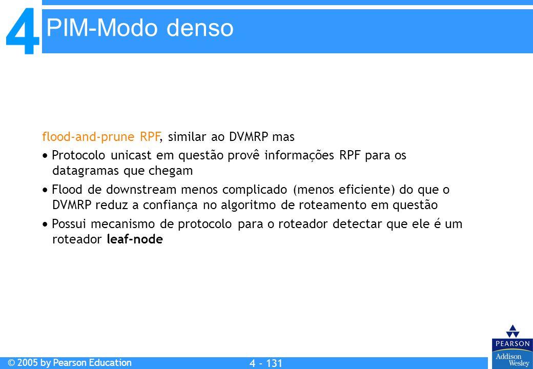 4 © 2005 by Pearson Education 4 4 - 131 flood-and-prune RPF, similar ao DVMRP mas  Protocolo unicast em questão provê informações RPF para os datagra