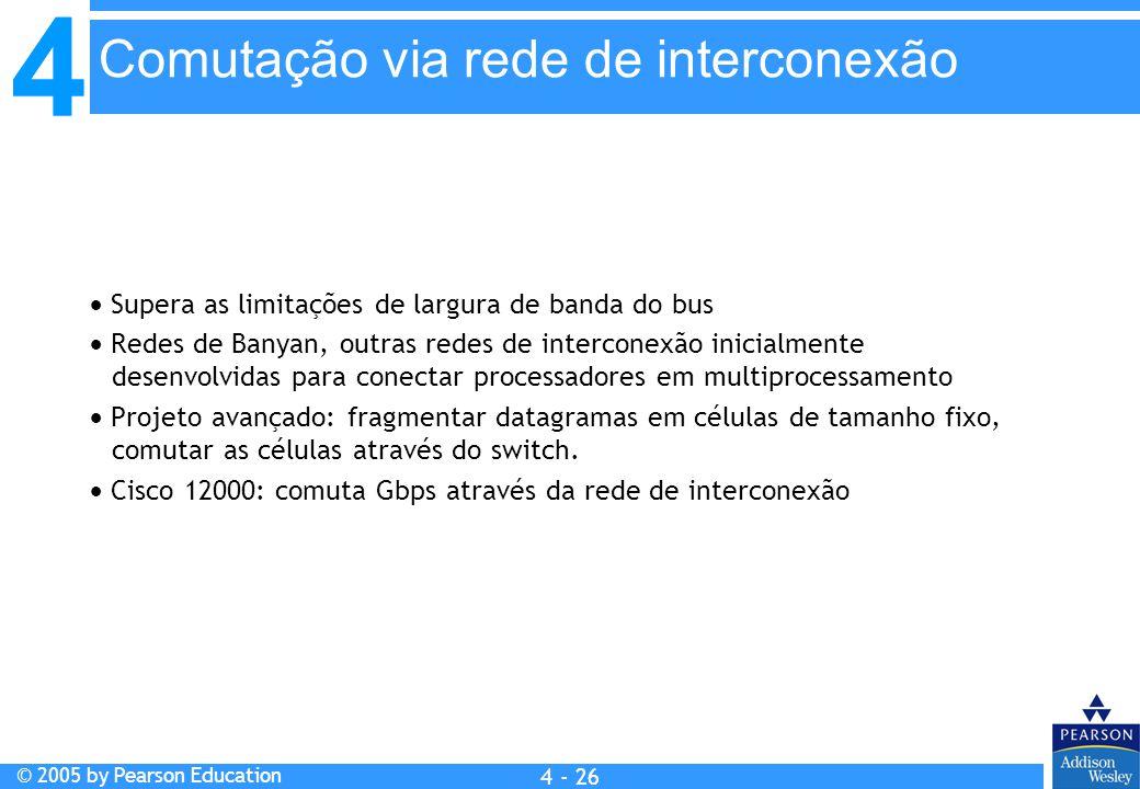 4 © 2005 by Pearson Education 4 4 - 26  Supera as limitações de largura de banda do bus  Redes de Banyan, outras redes de interconexão inicialmente