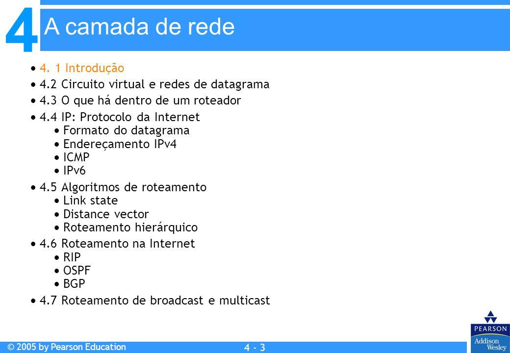 4 © 2005 by Pearson Education 4 4 - 94 rede de destinoroteador seguintenúm.
