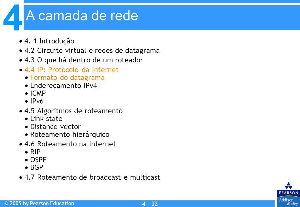 4 © 2005 by Pearson Education 4 4 - 32 A camada de rede  4. 1 Introdução  4.2 Circuito virtual e redes de datagrama  4.3 O que há dentro de um rote