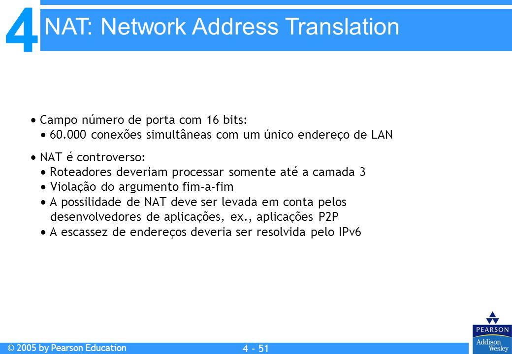 4 © 2005 by Pearson Education 4 4 - 51  Campo número de porta com 16 bits:  60.000 conexões simultâneas com um único endereço de LAN  NAT é controv