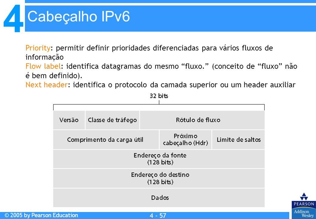 4 © 2005 by Pearson Education 4 4 - 57 Priority: permitir definir prioridades diferenciadas para vários fluxos de informação Flow label: identifica da