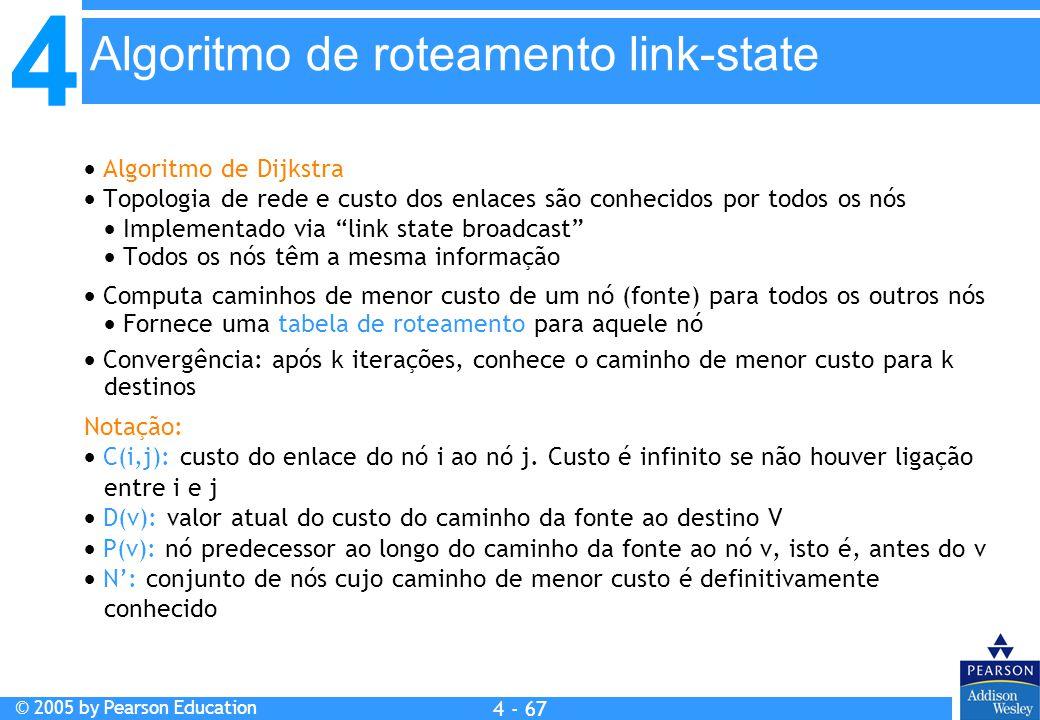 4 © 2005 by Pearson Education 4 4 - 67  Algoritmo de Dijkstra  Topologia de rede e custo dos enlaces são conhecidos por todos os nós  Implementado