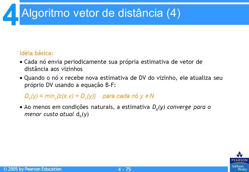 4 © 2005 by Pearson Education 4 4 - 75 Idéia básica:  Cada nó envia periodicamente sua própria estimativa de vetor de distância aos vizinhos  Quando