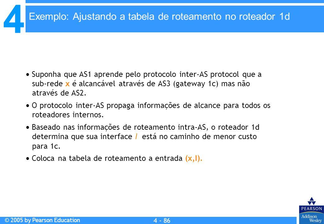 4 © 2005 by Pearson Education 4 4 - 86  Suponha que AS1 aprende pelo protocolo inter-AS protocol que a sub-rede x é alcancável através de AS3 (gatewa