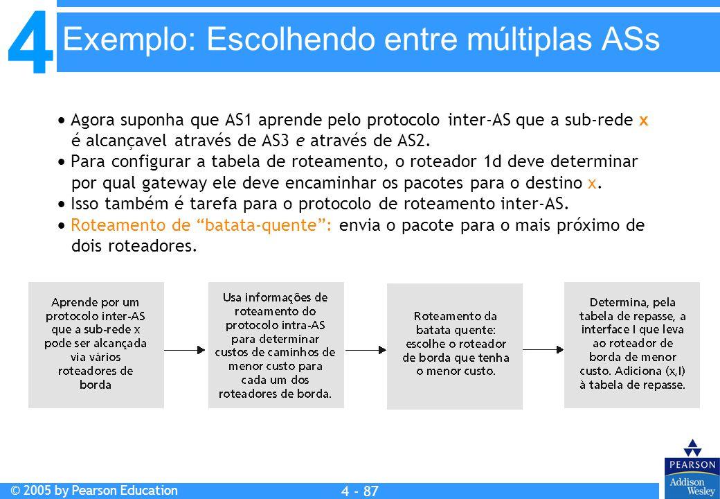 4 © 2005 by Pearson Education 4 4 - 87  Agora suponha que AS1 aprende pelo protocolo inter-AS que a sub-rede x é alcançavel através de AS3 e através