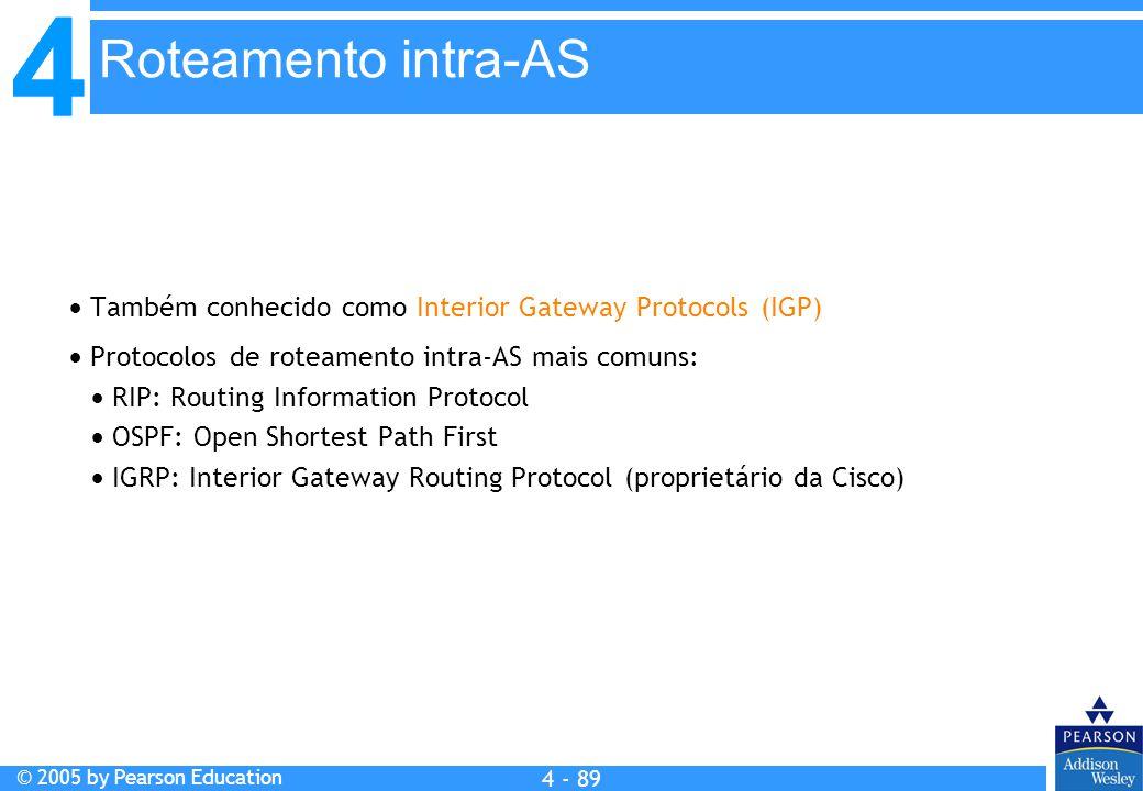 4 © 2005 by Pearson Education 4 4 - 89  Também conhecido como Interior Gateway Protocols (IGP)  Protocolos de roteamento intra-AS mais comuns:  RIP
