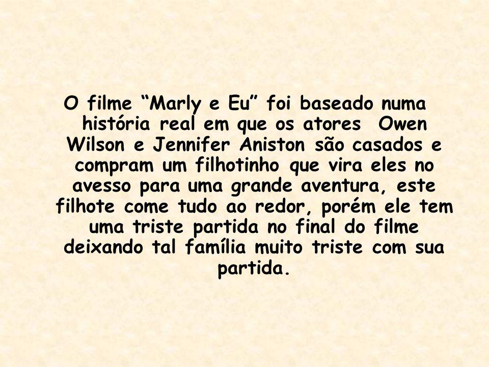 """O filme """"Marly e Eu"""" foi baseado numa história real em que os atores Owen Wilson e Jennifer Aniston são casados e compram um filhotinho que vira eles"""