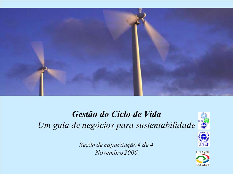 1 Gestão do Ciclo de Vida Um guia de negócios para sustentabilidade Seção de capacitação 4 de 4 Novembro 2006