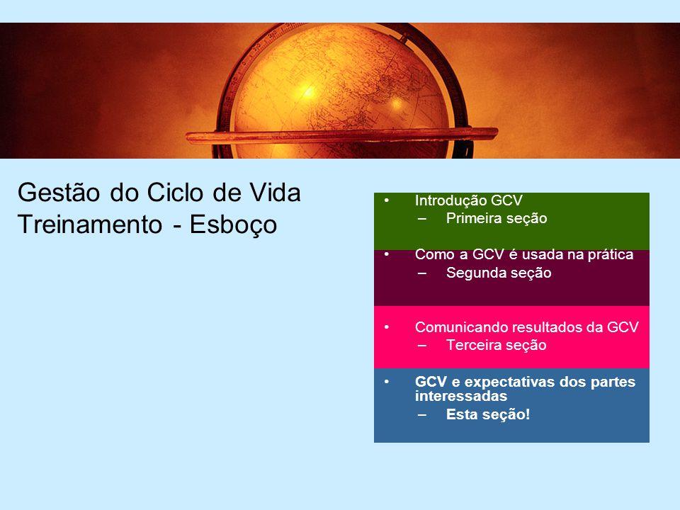 2 Gestão do Ciclo de Vida Treinamento - Esboço Introdução GCV –Primeira seção Como a GCV é usada na prática –Segunda seção Comunicando resultados da GCV –Terceira seção GCV e expectativas dos partes interessadas –Esta seção!