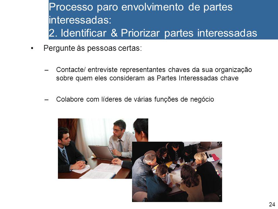 24 Processo paro envolvimento de partes interessadas: 2. Identificar & Priorizar partes interessadas Pergunte às pessoas certas: –Contacte/ entreviste