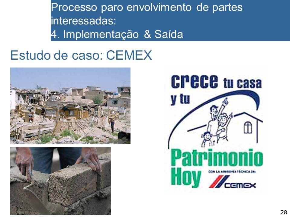 28 Processo paro envolvimento de partes interessadas: 4. Implementação & Saída Estudo de caso: CEMEX