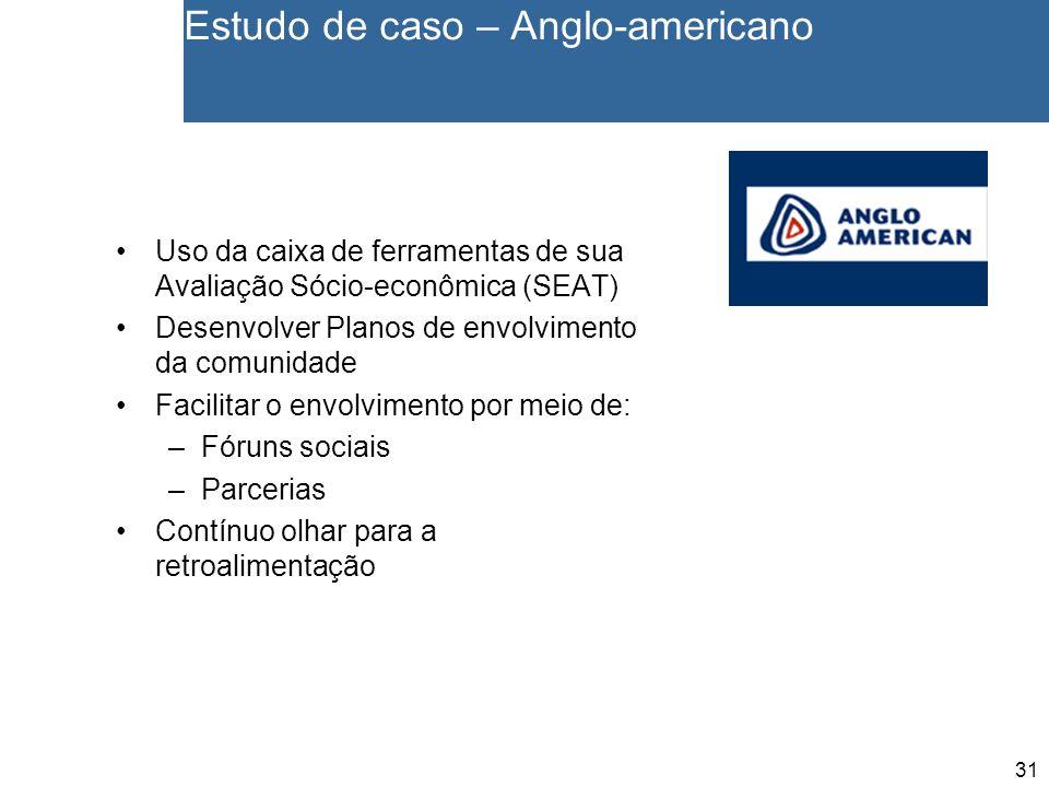 31 Estudo de caso – Anglo-americano Uso da caixa de ferramentas de sua Avaliação Sócio-econômica (SEAT) Desenvolver Planos de envolvimento da comunida