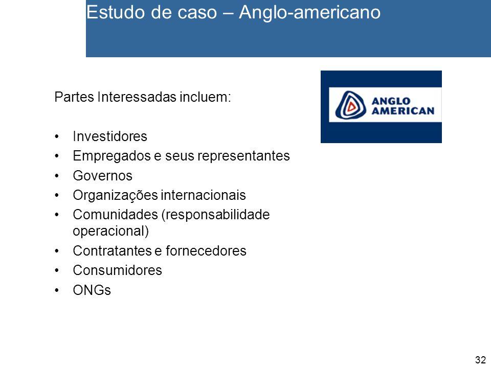 32 Estudo de caso – Anglo-americano Partes Interessadas incluem: Investidores Empregados e seus representantes Governos Organizações internacionais Comunidades (responsabilidade operacional) Contratantes e fornecedores Consumidores ONGs