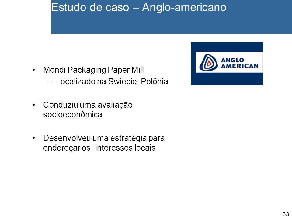 33 Estudo de caso – Anglo-americano Mondi Packaging Paper Mill –Localizado na Swiecie, Polônia Conduziu uma avaliação socioeconômica Desenvolveu uma estratégia para endereçar os interesses locais