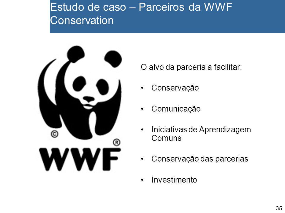 35 Estudo de caso – Parceiros da WWF Conservation O alvo da parceria a facilitar: Conservação Comunicação Iniciativas de Aprendizagem Comuns Conservação das parcerias Investimento