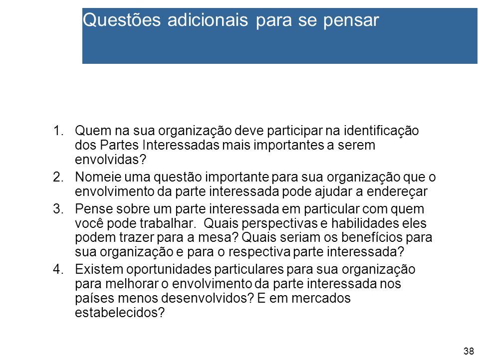 38 Questões adicionais para se pensar 1.Quem na sua organização deve participar na identificação dos Partes Interessadas mais importantes a serem envolvidas.