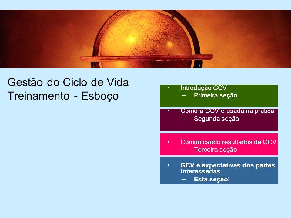 39 Gestão do Ciclo de Vida Treinamento - Esboço Introdução GCV –Primeira seção Como a GCV é usada na prática –Segunda seção Comunicando resultados da GCV –Terceira seção GCV e expectativas dos partes interessadas –Esta seção!