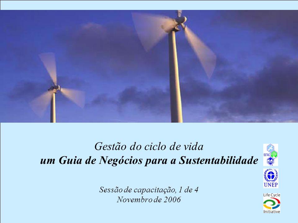 1 Gestão do ciclo de vida um Guia de Negócios para a Sustentabilidade Sessão de capacitação, 1 de 4 Novembro de 2006