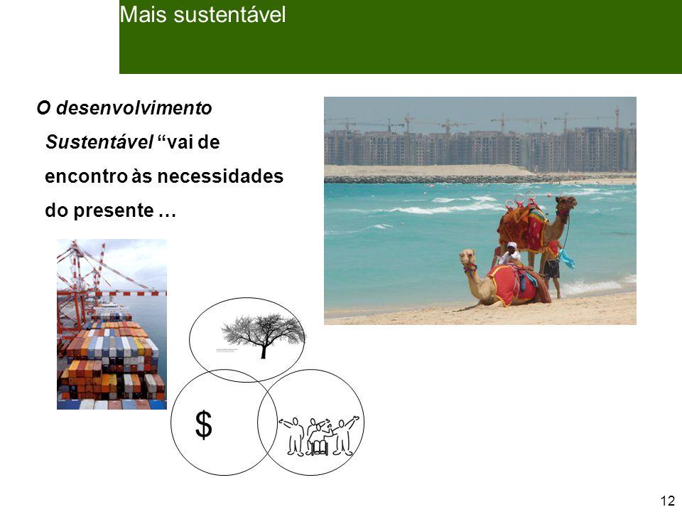 12 Mais sustentável O desenvolvimento Sustentável vai de encontro às necessidades do presente … $