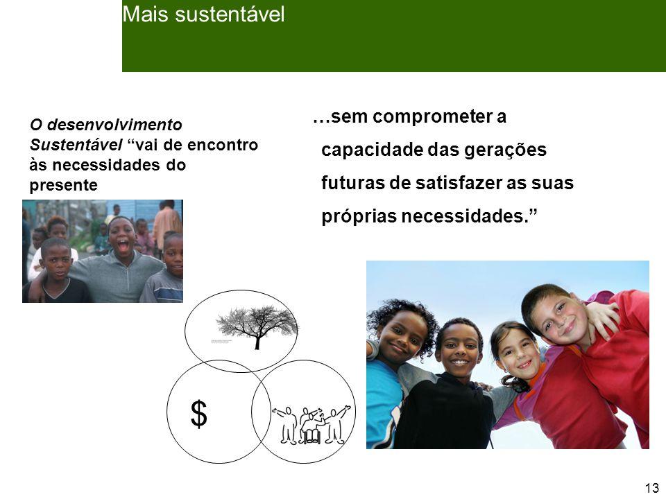 13 Mais sustentável $ …sem comprometer a capacidade das gerações futuras de satisfazer as suas próprias necessidades. O desenvolvimento Sustentável vai de encontro às necessidades do presente