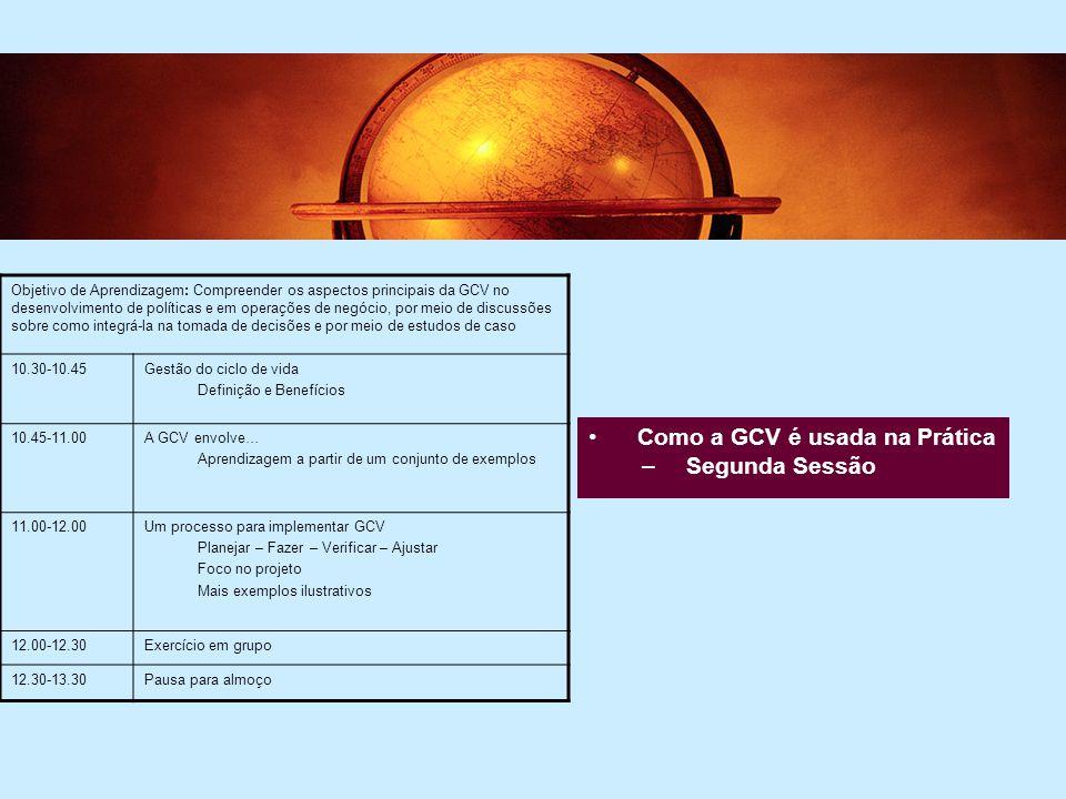 4 Como a GCV é usada na Prática –Segunda Sessão Objetivo de Aprendizagem: Compreender os aspectos principais da GCV no desenvolvimento de políticas e em operações de negócio, por meio de discussões sobre como integrá-la na tomada de decisões e por meio de estudos de caso 10.30-10.45Gestão do ciclo de vida Definição e Benefícios 10.45-11.00A GCV envolve… Aprendizagem a partir de um conjunto de exemplos 11.00-12.00Um processo para implementar GCV Planejar – Fazer – Verificar – Ajustar Foco no projeto Mais exemplos ilustrativos 12.00-12.30Exercício em grupo 12.30-13.30Pausa para almoço