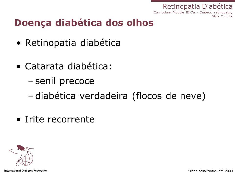 Retinopatia Diabética Curriculum Module III-7a – Diabetic retinopathy Slide 2 of 39 Slides atualizados até 2008 Doença diabética dos olhos Retinopatia