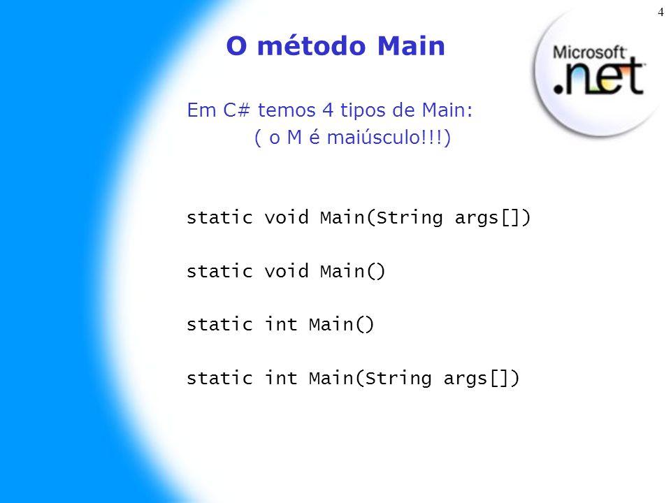 5 Usando o Console Similar a Java, também temos como interagir com Console, para isso usamos a classe Console no namespace System através de vários métodos: Escrevendo na tela: // Escreve uma string no console Console.Write(String s); // Escreve uma linha em branco Console.WriteLine(); /* Escreve uma string no console e pula uma linha */ Console.WriteLine(String s);