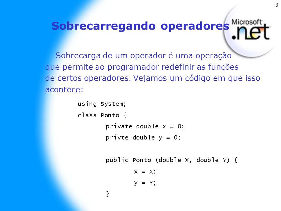 6 Sobrecarregando operadores Sobrecarga de um operador é uma operação que permite ao programador redefinir as funções de certos operadores.