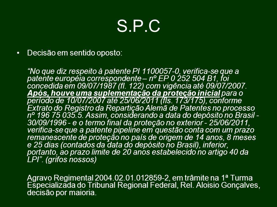 S.P.C Decisão em sentido oposto: No que diz respeito à patente PI 1100057-0, verifica-se que a patente européia correspondente – nº EP 0 252 504 B1, foi concedida em 09/07/1987 (fl.