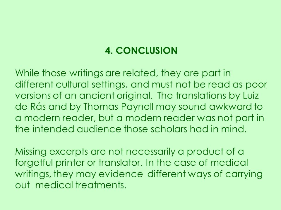 4. CONCLUSION While those writings are related, they are part in different cultural settings, and must not be read as poor versions of an ancient orig