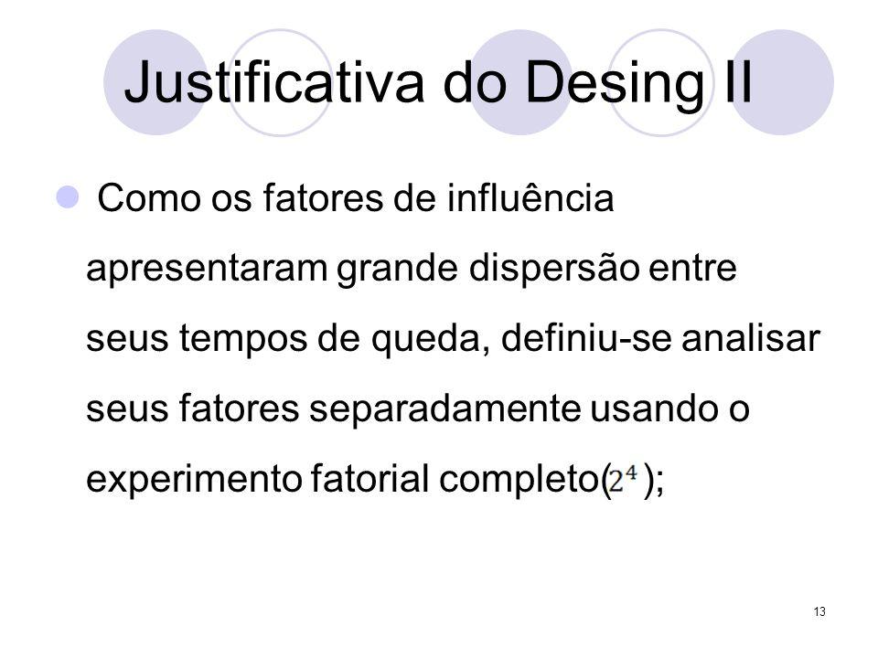 Justificativa do Desing II Como os fatores de influência apresentaram grande dispersão entre seus tempos de queda, definiu-se analisar seus fatores se