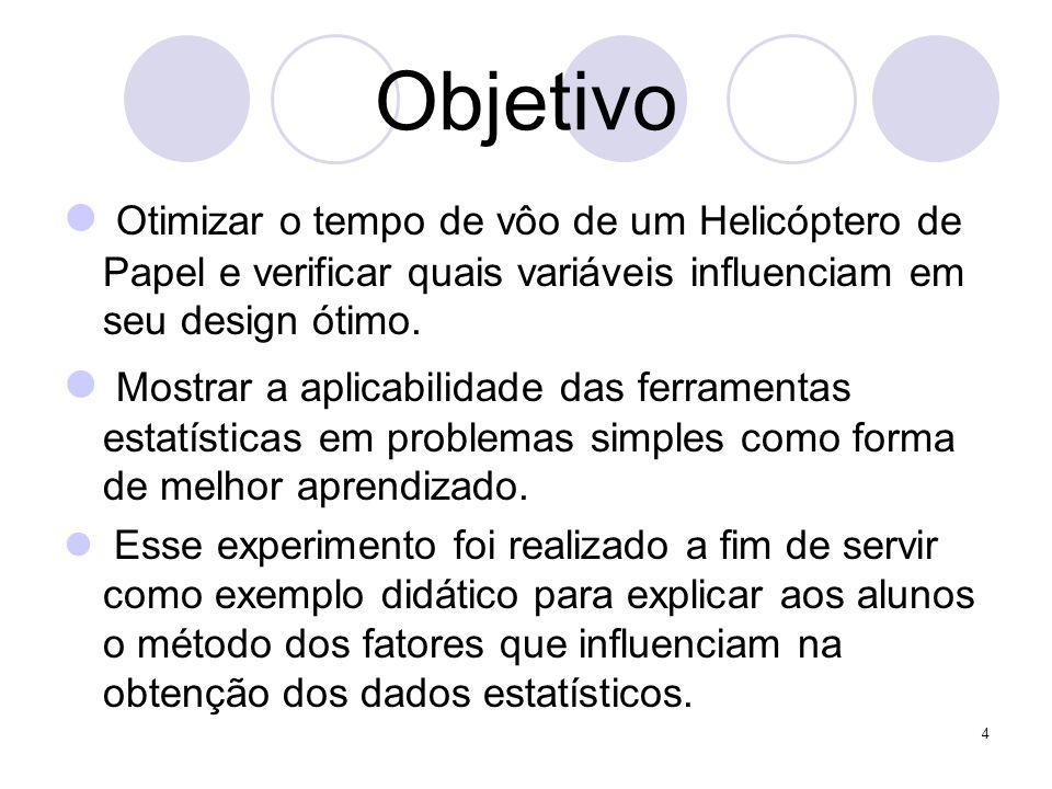 4 Objetivo Otimizar o tempo de vôo de um Helicóptero de Papel e verificar quais variáveis influenciam em seu design ótimo. Mostrar a aplicabilidade da