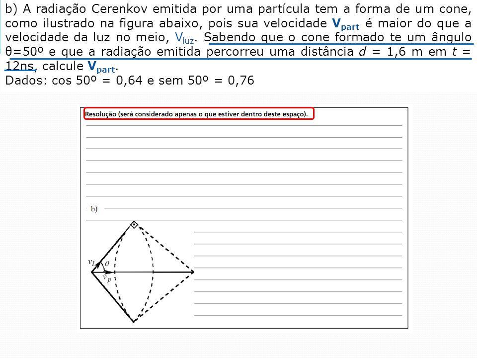 b) A radiação Cerenkov emitida por uma partícula tem a forma de um cone, como ilustrado na figura abaixo, pois sua velocidade V part é maior do que a velocidade da luz no meio, V luz.