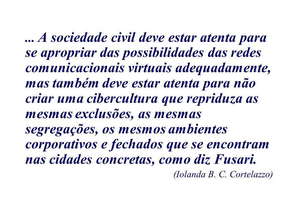 ... A sociedade civil deve estar atenta para se apropriar das possibilidades das redes comunicacionais virtuais adequadamente, mas também deve estar a