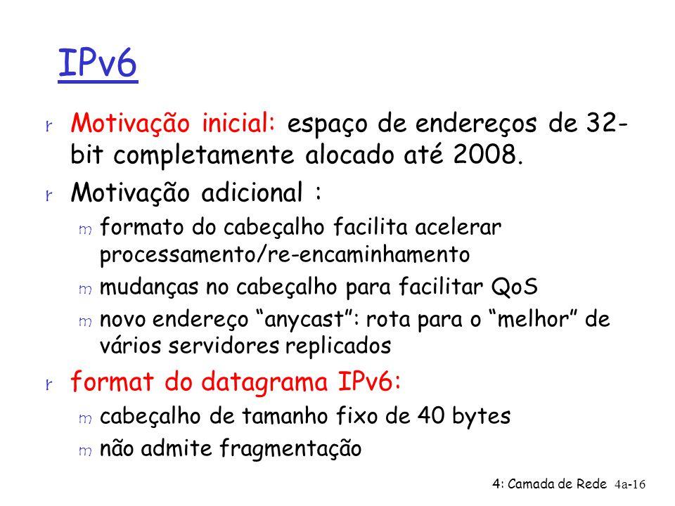 4: Camada de Rede4a-16 IPv6 r Motivação inicial: espaço de endereços de 32- bit completamente alocado até 2008.