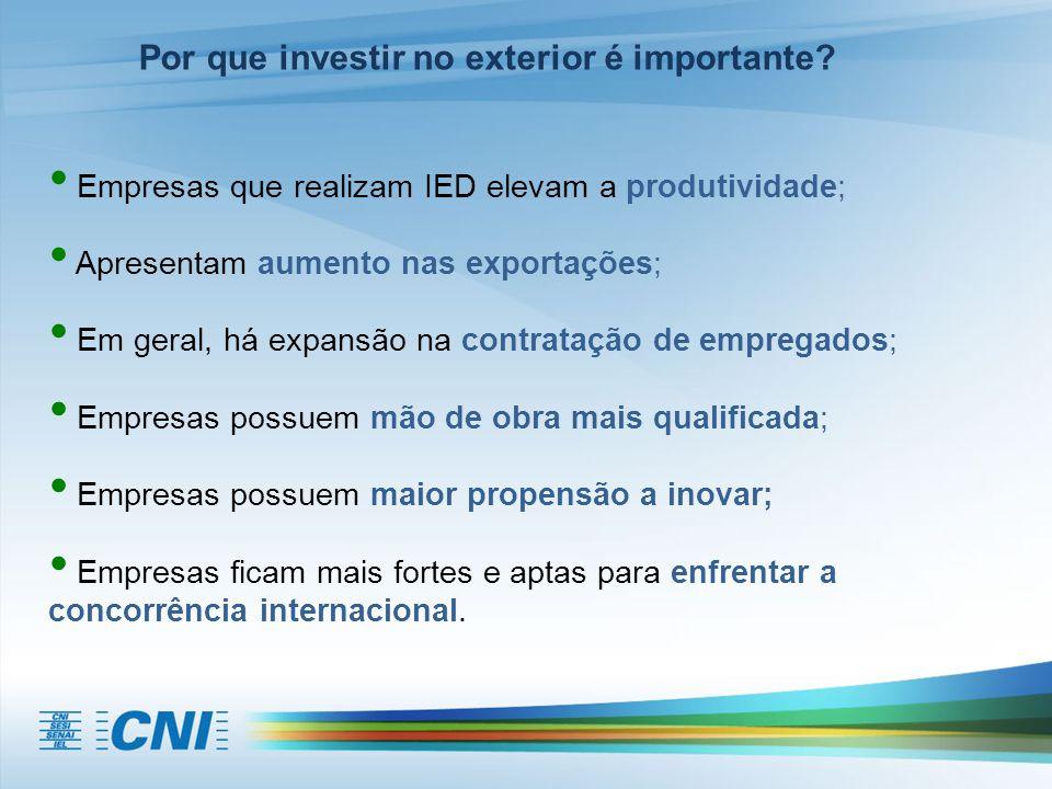 Empresas que realizam IED elevam a produtividade; Apresentam aumento nas exportações; Em geral, há expansão na contratação de empregados; Empresas pos