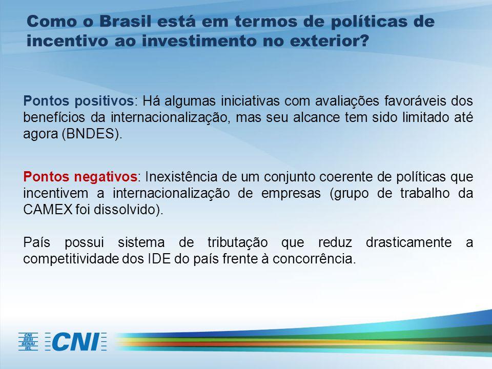 Como o Brasil está em termos de políticas de incentivo ao investimento no exterior? Pontos positivos: Há algumas iniciativas com avaliações favoráveis