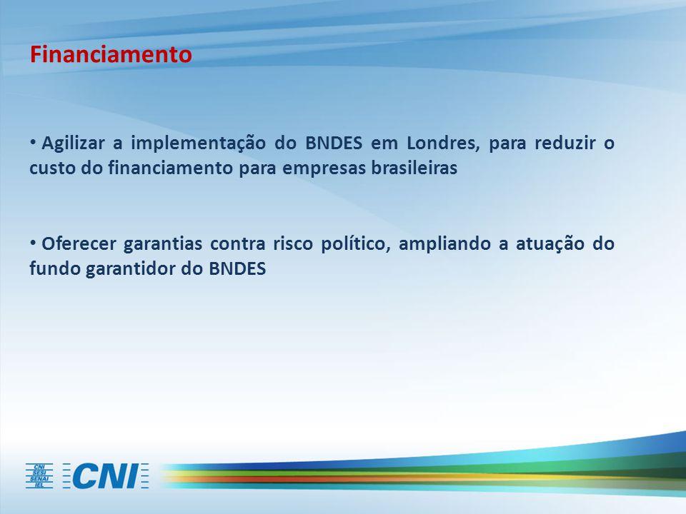 Financiamento Agilizar a implementação do BNDES em Londres, para reduzir o custo do financiamento para empresas brasileiras Oferecer garantias contra risco político, ampliando a atuação do fundo garantidor do BNDES