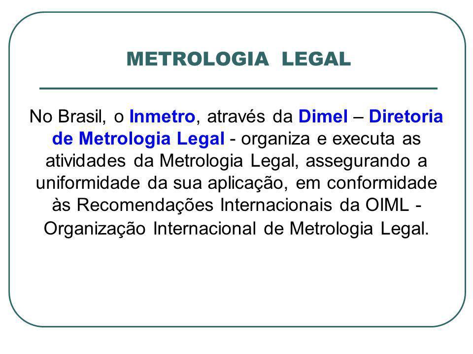 No Brasil, o Inmetro, através da Dimel – Diretoria de Metrologia Legal - organiza e executa as atividades da Metrologia Legal, assegurando a uniformid