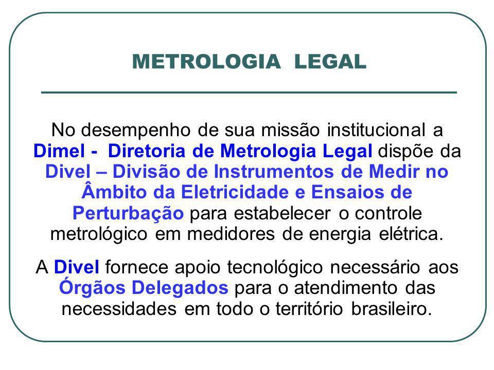 No desempenho de sua missão institucional a Dimel - Diretoria de Metrologia Legal dispõe da Divel – Divisão de Instrumentos de Medir no Âmbito da Elet