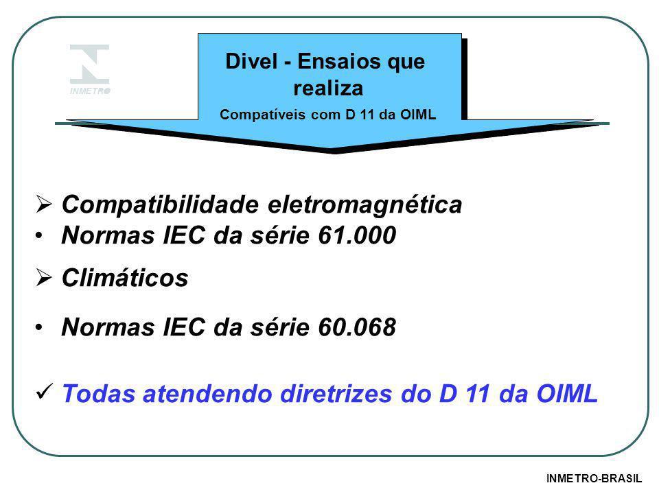 Divel - Ensaios que realiza  Compatibilidade eletromagnética Normas IEC da série 61.000  Climáticos Normas IEC da série 60.068 Todas atendendo diretrizes do D 11 da OIML Compatíveis com D 11 da OIML INMETRO-BRASIL